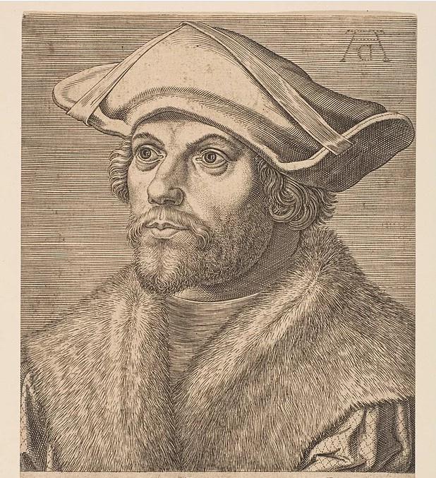Гравюра Филиппа Галле (отражённая) по картине Альбрехта Дюрера