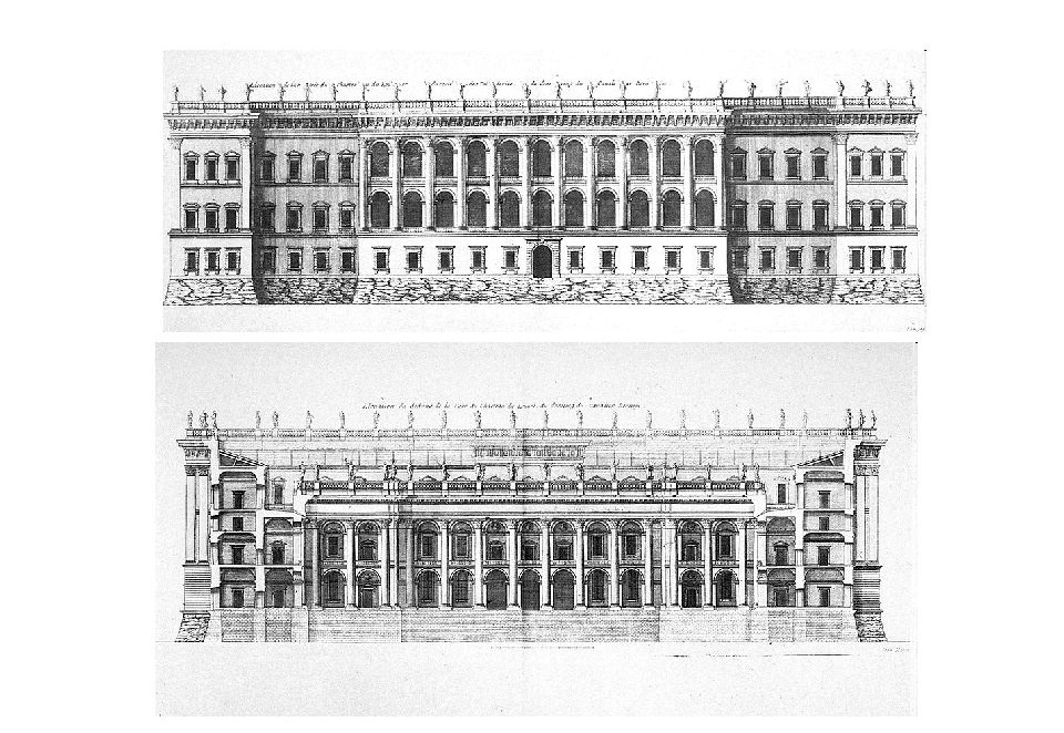 Gian Lorenzo Bernini. Louvre Museum, third project. East facade and section along the axis of the courtyard