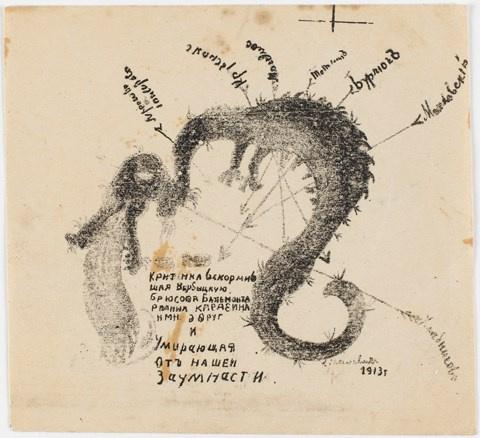 Kazimir Malevich. Futuristic dragon (Criticism suckled...). Caricature