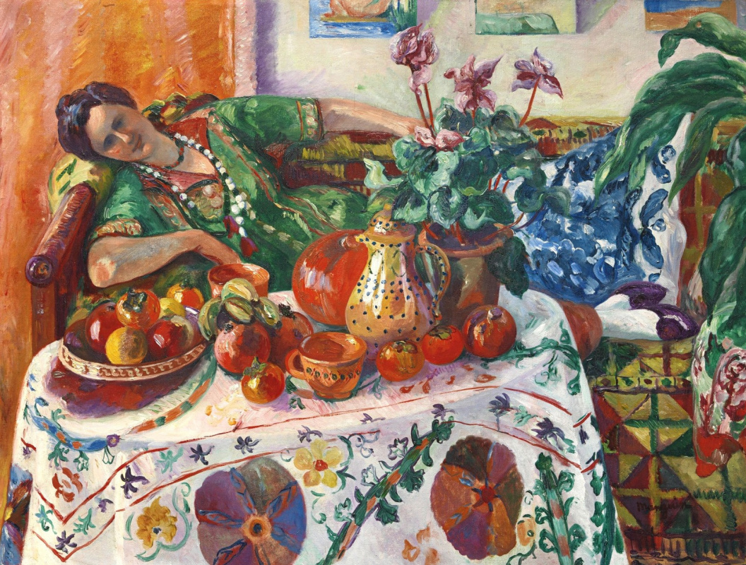 Henri Manguin. Jeanne on the couch at the table
