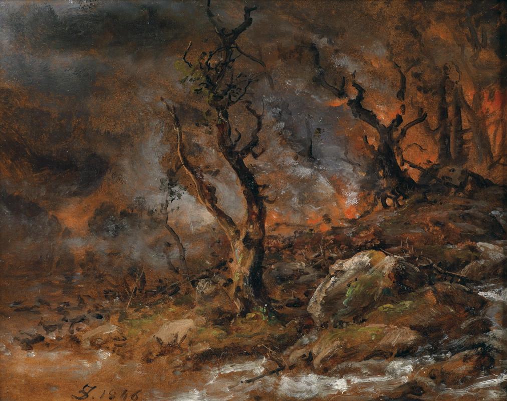 Johan Christian Klausen Dahl. Пожар в лесу