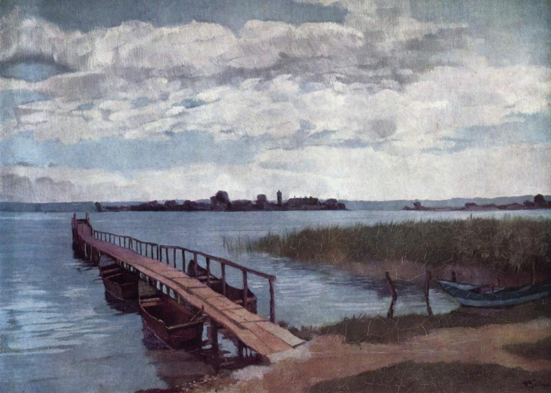 Heinrich Wilhelm Trybner. Boat dock on the island herreninsel Islands in lake Chiemsee