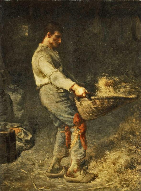 Jean-François Millet. Peasant sifting grain