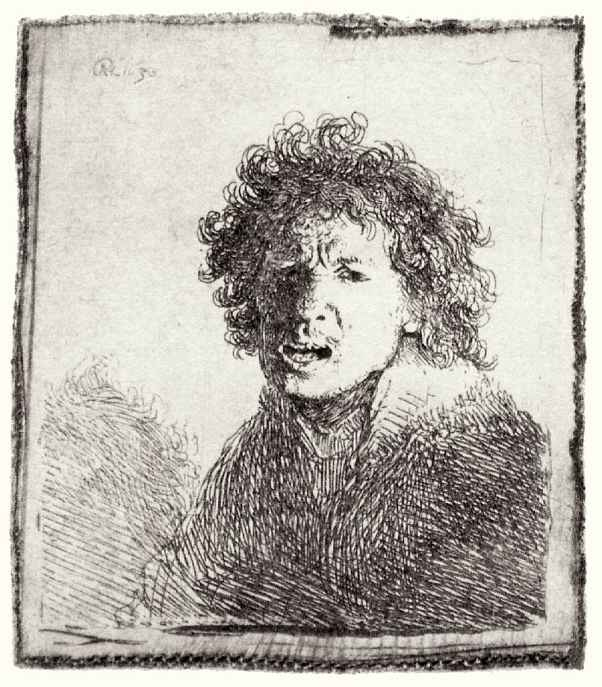Рембрандт Ван Рейн. Автопортрет с раскрытым ртом