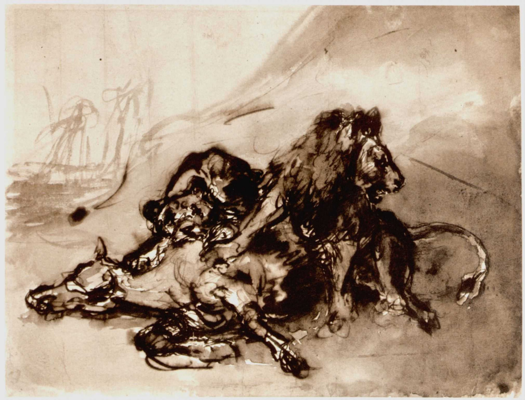 Eugene Delacroix. Lions attacking a horse
