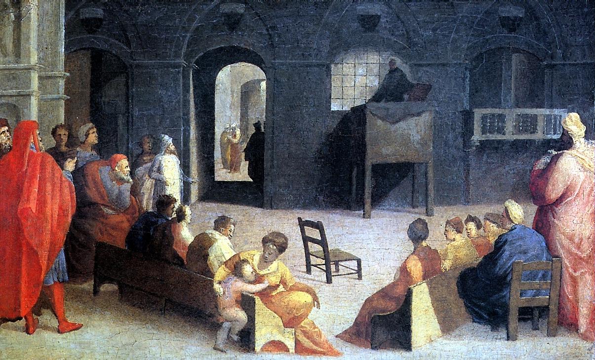 Доменико Беккафуми. Проповедь Святого Бернардино Сиенского