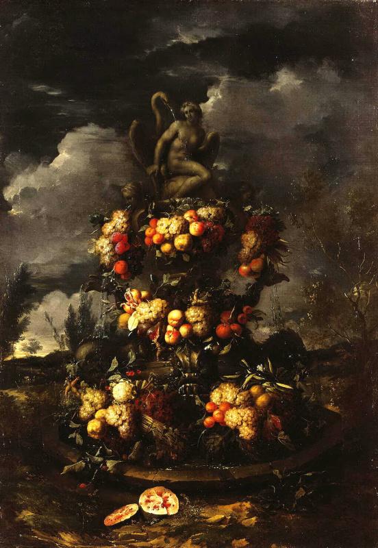 Ян Паувель Младший Гиллеманс. Фонтан, украшенный фруктами