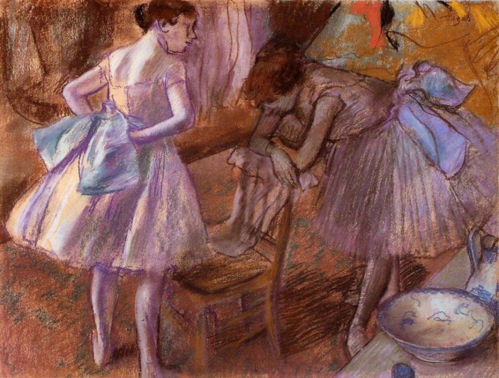 Edgar Degas. Two ballerinas in dressing room