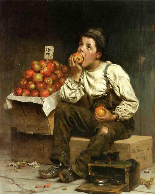 Джон Джордж Браун.. Чистильщик обуви и продавец яблок