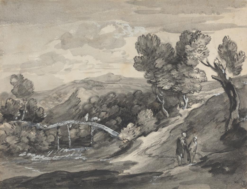 Томас Гейнсборо. Пейзаж с холмами и мостом