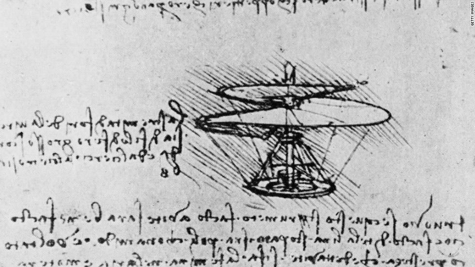 Leonardo da Vinci. The drawing of the helicopter