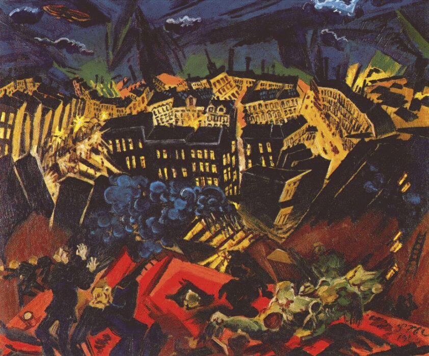 Ludwig Maidner. Burning city