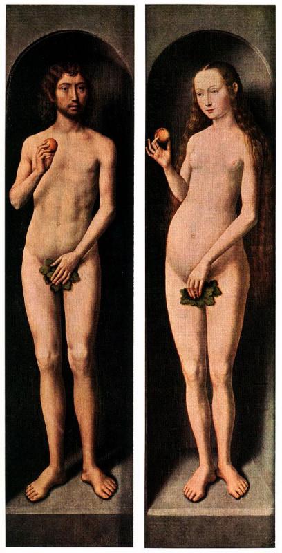 Ганс Мемлинг. Малый триптих Святого Иоанна Крестителя. Боковые панели, внешняя сторона: Адам и Ева