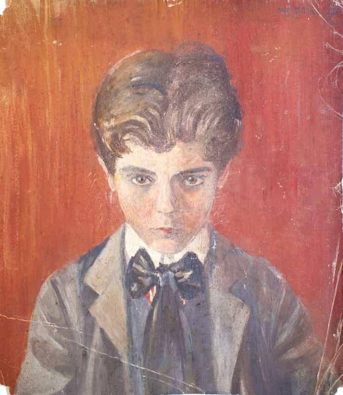 Egon Schiele. Self-Portrait with Red Background