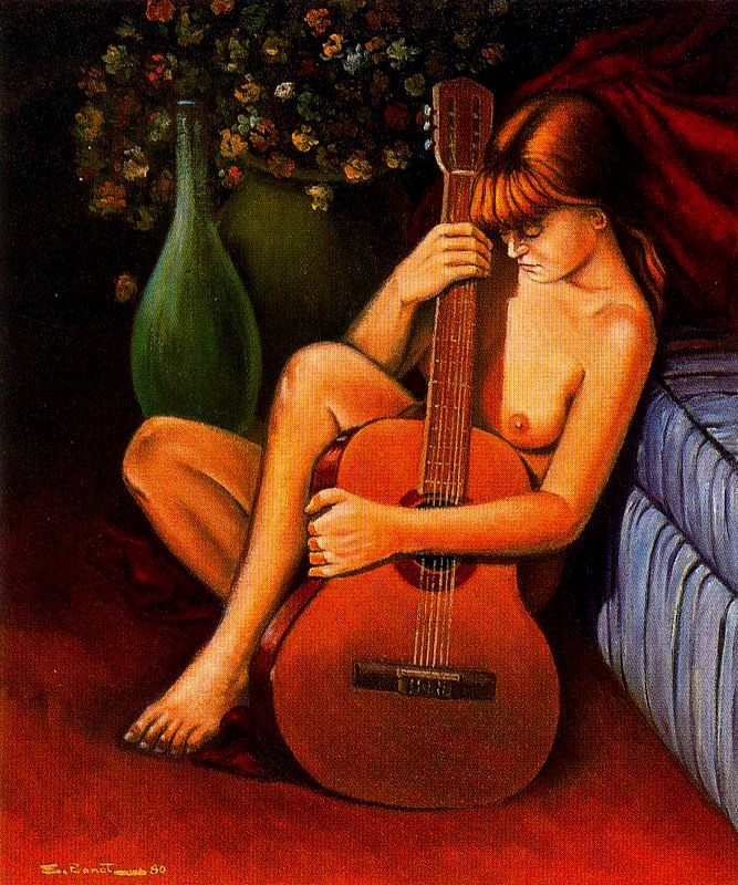 Эмилио Бонет Казанова. Обнаженная девушка с гитарой