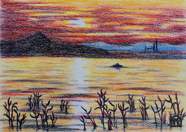 Larissa Lukaneva. Grass at sunset. Sketch.