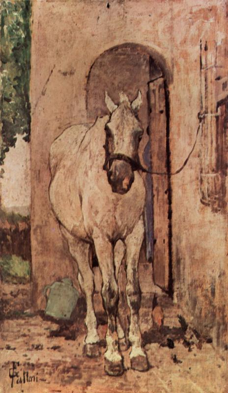 Giovanni Fattori. White horse in front of the door