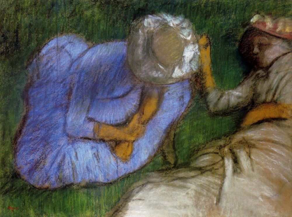 Edgar Degas. Young women resting in a field
