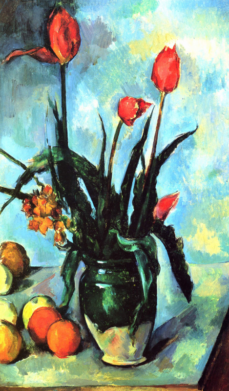 Paul Cezanne. Still life with tulips in a vase