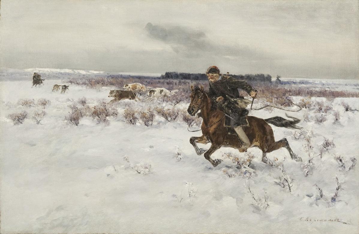 Sergey Semenovich Voroshilov. Hunting. the beginning of the twentieth century 58х89 cm