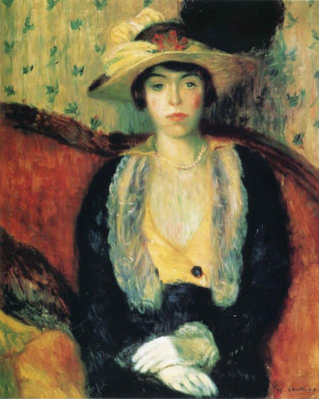 Уильям Джеймс Глакенс. Сидящая женщина в шляпе