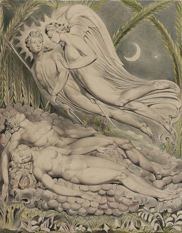 """Уильям Блейк. Спящие Адам и Ева. Иллюстрации к поэме Мильтона """"Потерянный рай"""""""