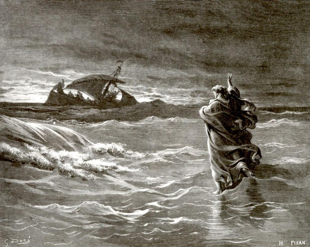 Поль Гюстав Доре. Иисус идет по морю