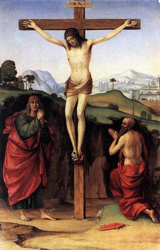 Франческо Франча. Распятие со святыми Иоанном и Иеронимом