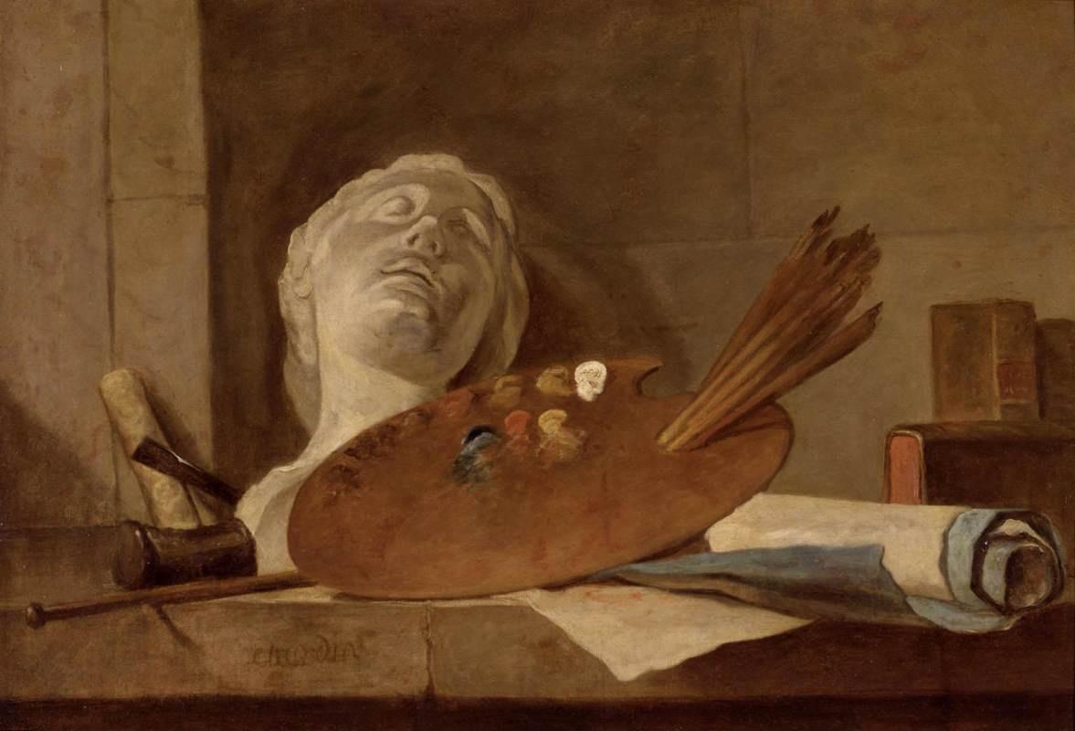 Жан Батист Симеон Шарден. Натюрморт с атрибутами живописи и скульптуры