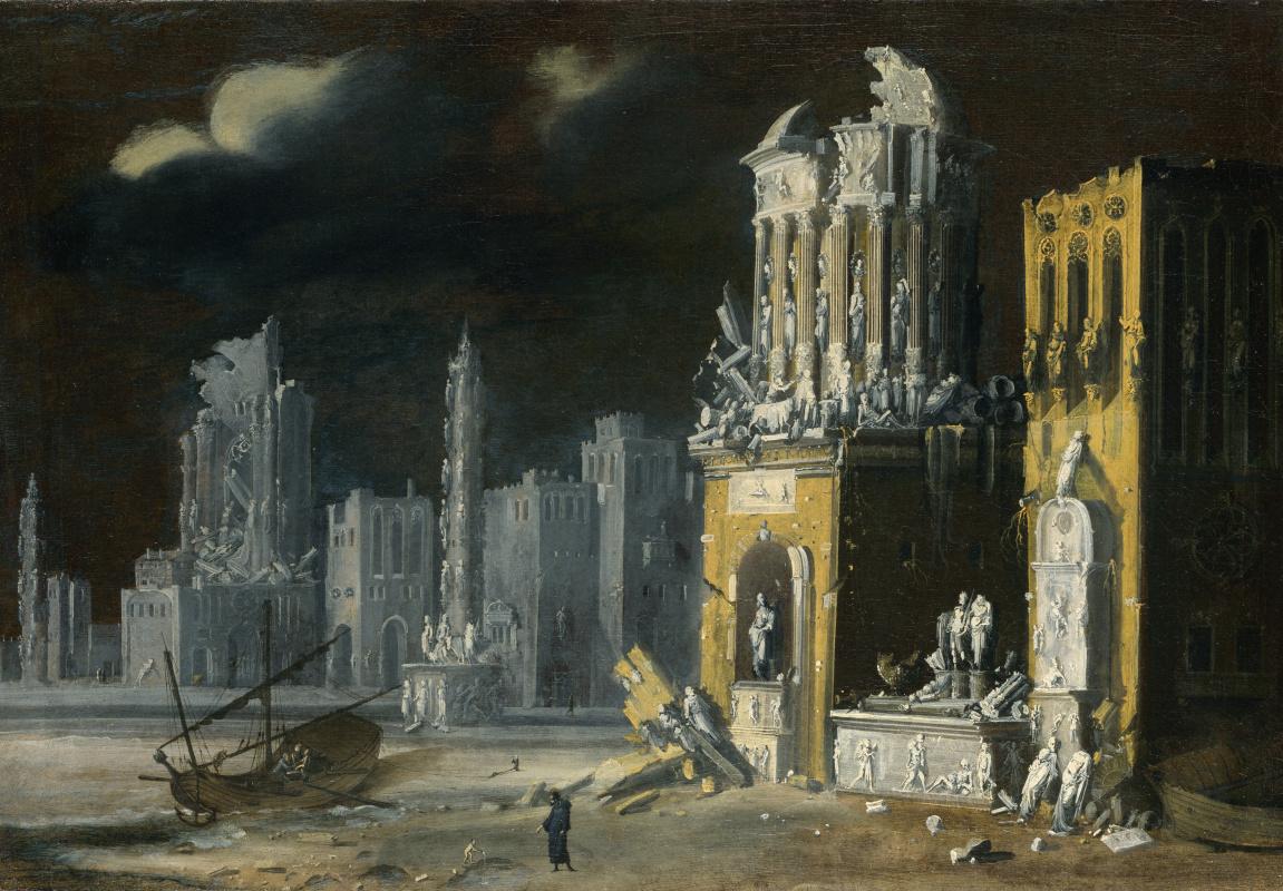 Де Номе Франсуа. Фантастическая руины со святым Августином и ребенком