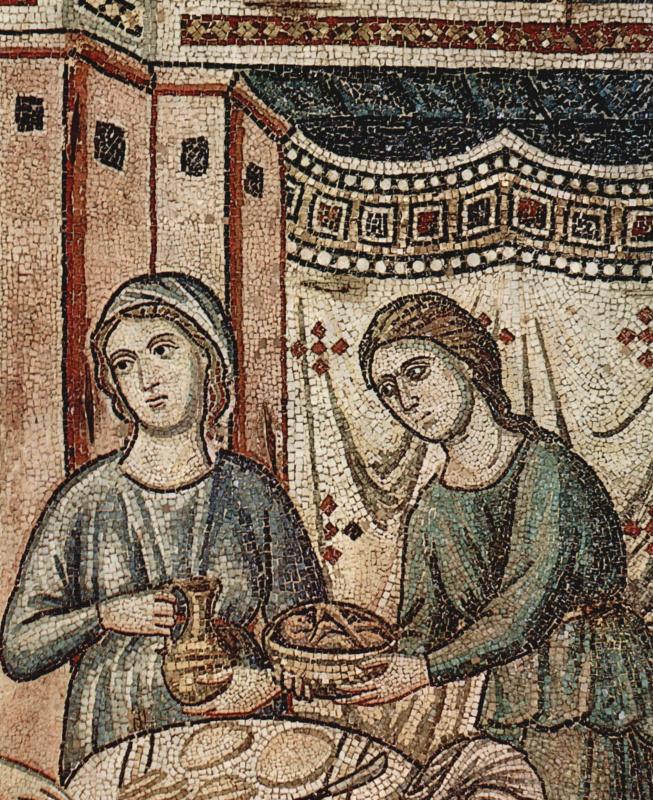 Пьетро Каваллини. Цикл мозаик с шестью сценами из жизни Марии. Рождение Марии. Деталь