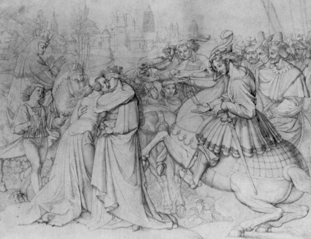 Петер фон Корнелиус. Встреча королев: Уты, Кримгильды и Брунгильды