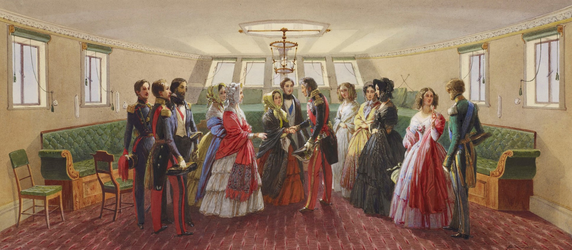 """Franz Xaver Winterhalter. Royal visit of Louis Philippe on 7 September 1843. Cabin on Queen Victoria's yacht """"Victoria and albert"""""""