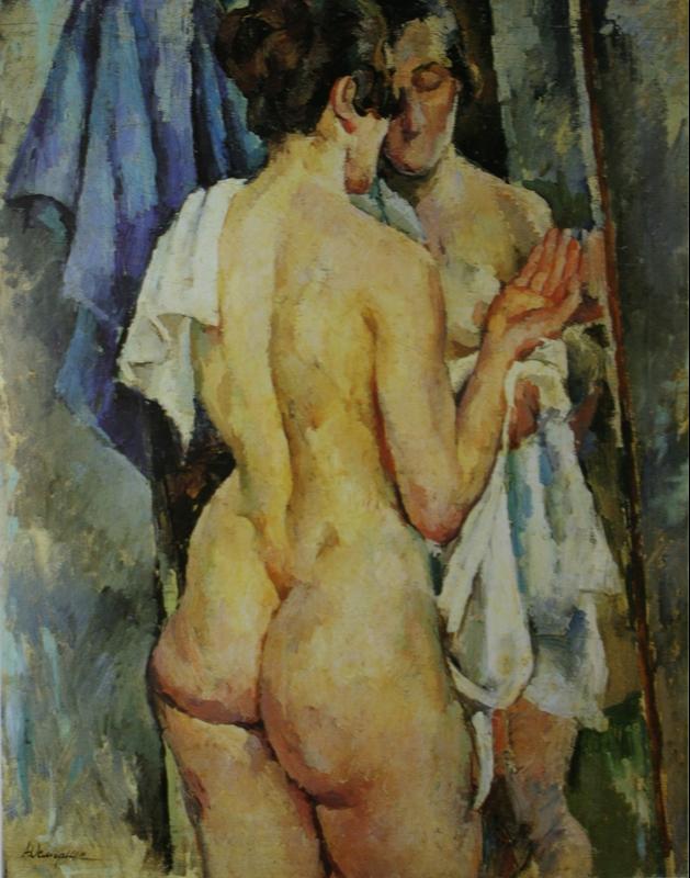 Alexander Alexandrovich Osmercin. Model in front of the mirror. Collection of V. A and E. A. Semenikhin.