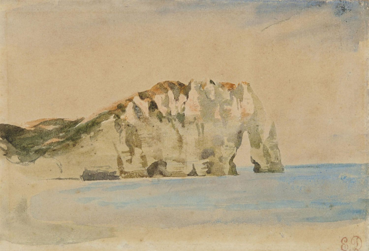 Eugene Delacroix. The Cliffs Of Etretat. Views of the rock of Aval Bank
