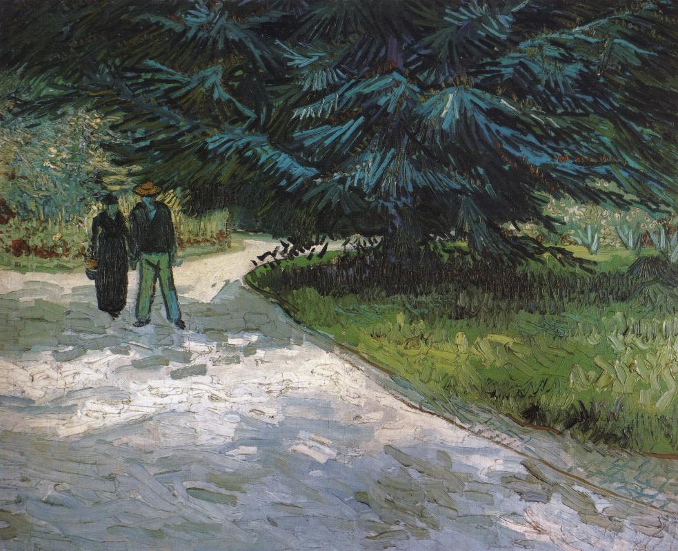 Винсент Ван Гог. Общественный сад с парой и синей елью