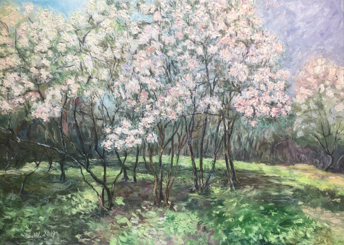 "Sophia Vinogradova. Painting ""Cherry ice cream"" (canvas oil palette knife flowers cherry garden spring grass flowering garden palette knife cherry garden garden blossoms garden in bloom)"