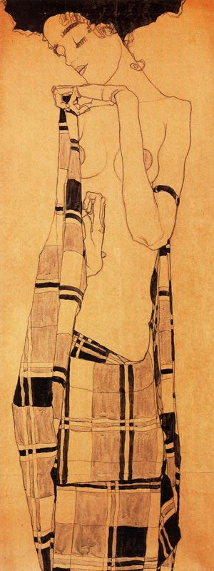 Egon Schiele. Girl standing, wrapped in a blanket