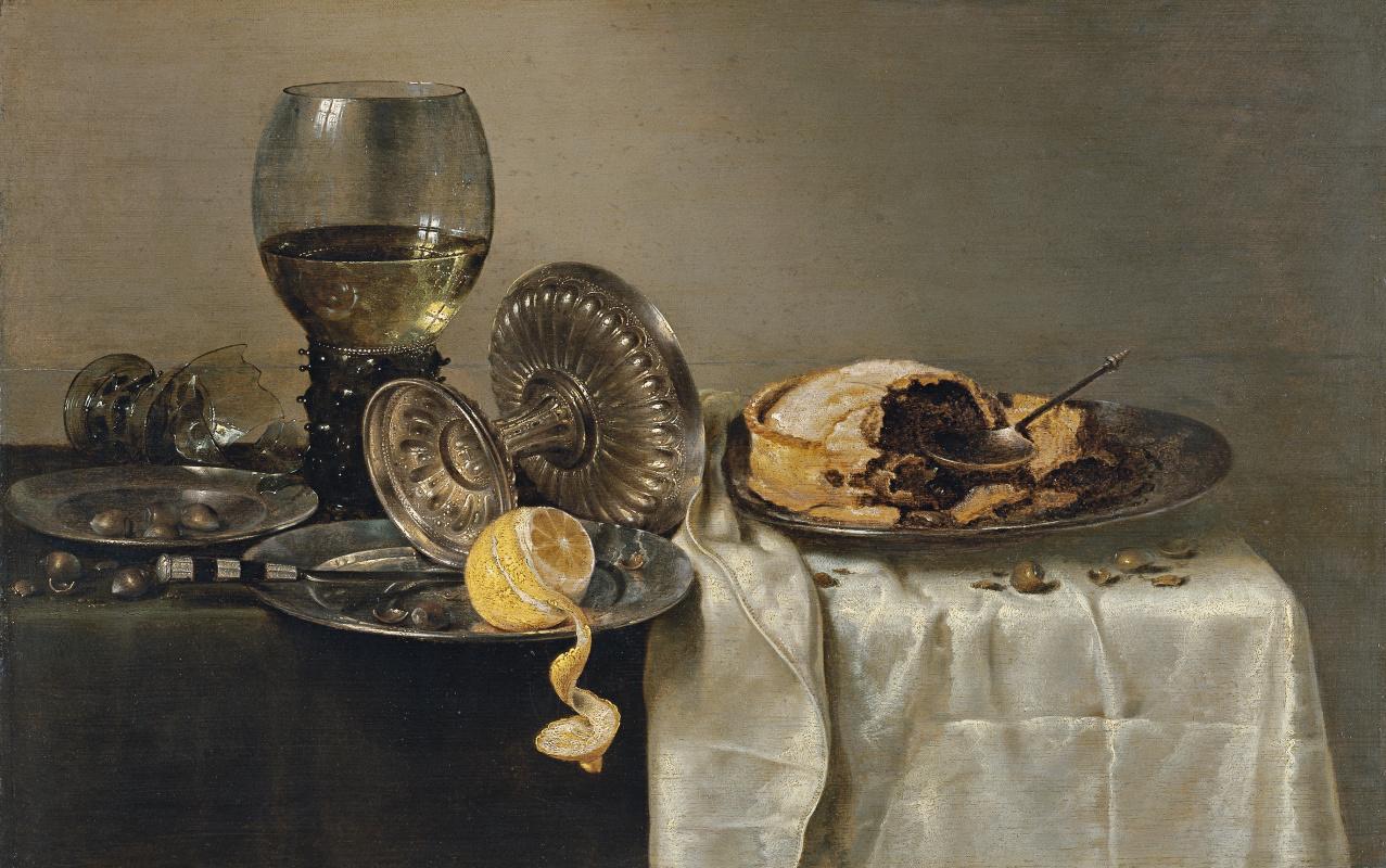 Pieter Claesz. Still Life with a Broken Glass and Fruit Pie