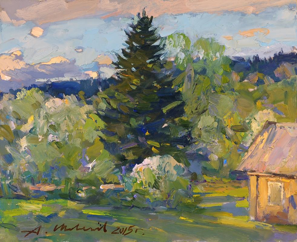 Alexander Shevelyov. Tree of the house of Marcevich.Hardboard,oil, 23 x 28 cm 2015