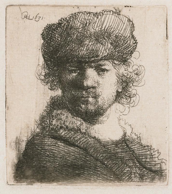 Рембрандт Харменс ван Рейн. Автопортрет в круглой меховой шапке