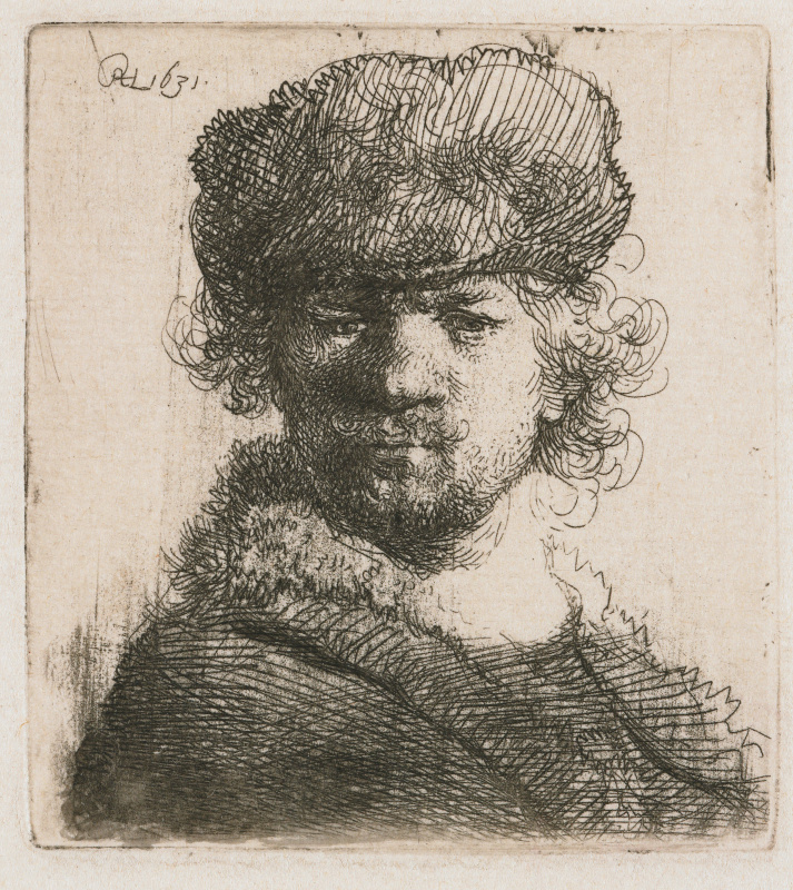 Rembrandt Harmenszoon van Rijn. Self-portrait in a round fur cap