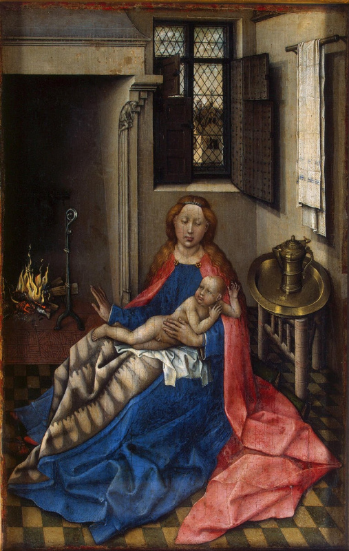 Робер Кампен. Мадонна с младенцем Христом у камина. Правая створка диптиха