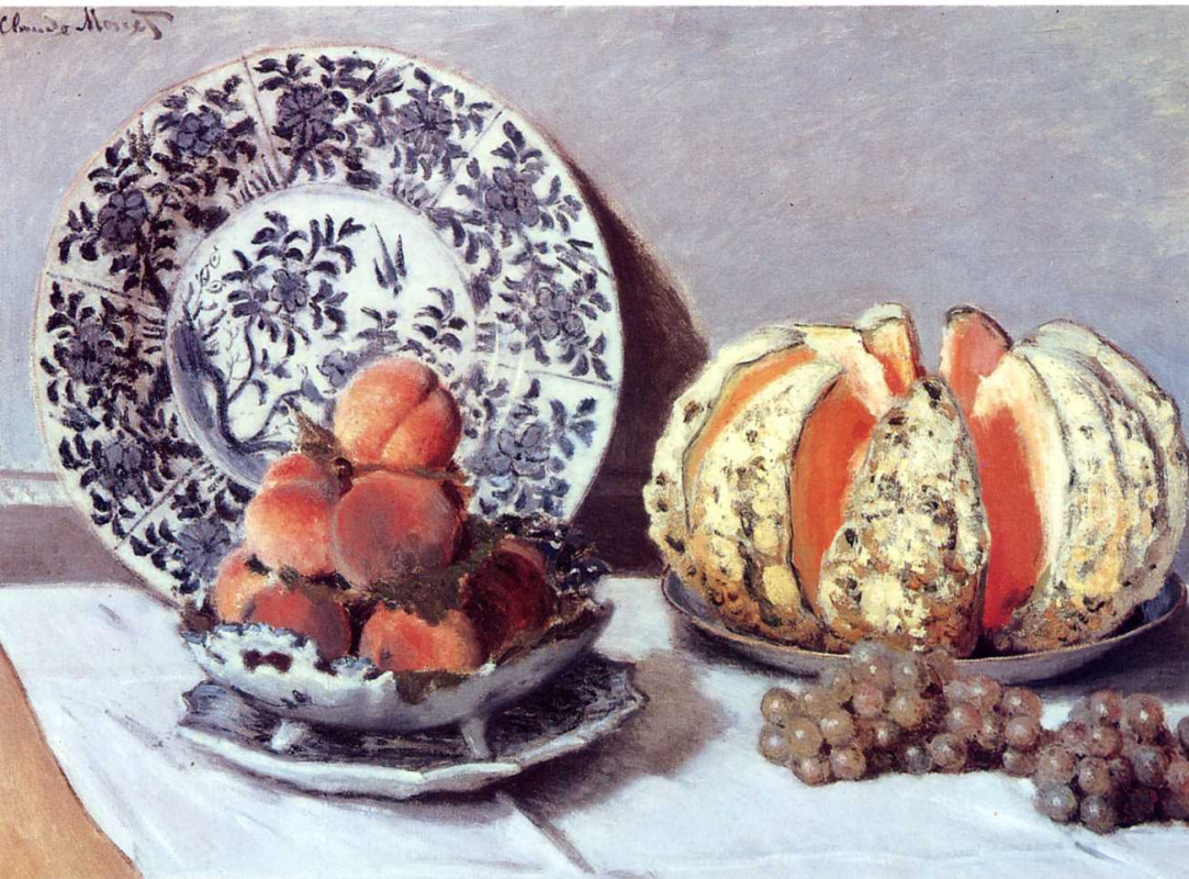 Claude Monet. Still life with pumpkin, peaches and grapes