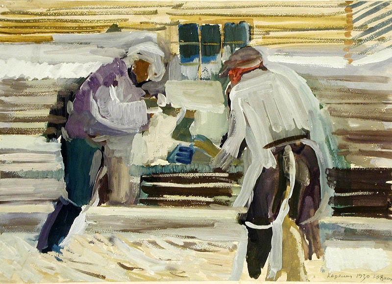"Yuri Alekseevich Vasnetsov. Sawers. From the series ""Karelia"""
