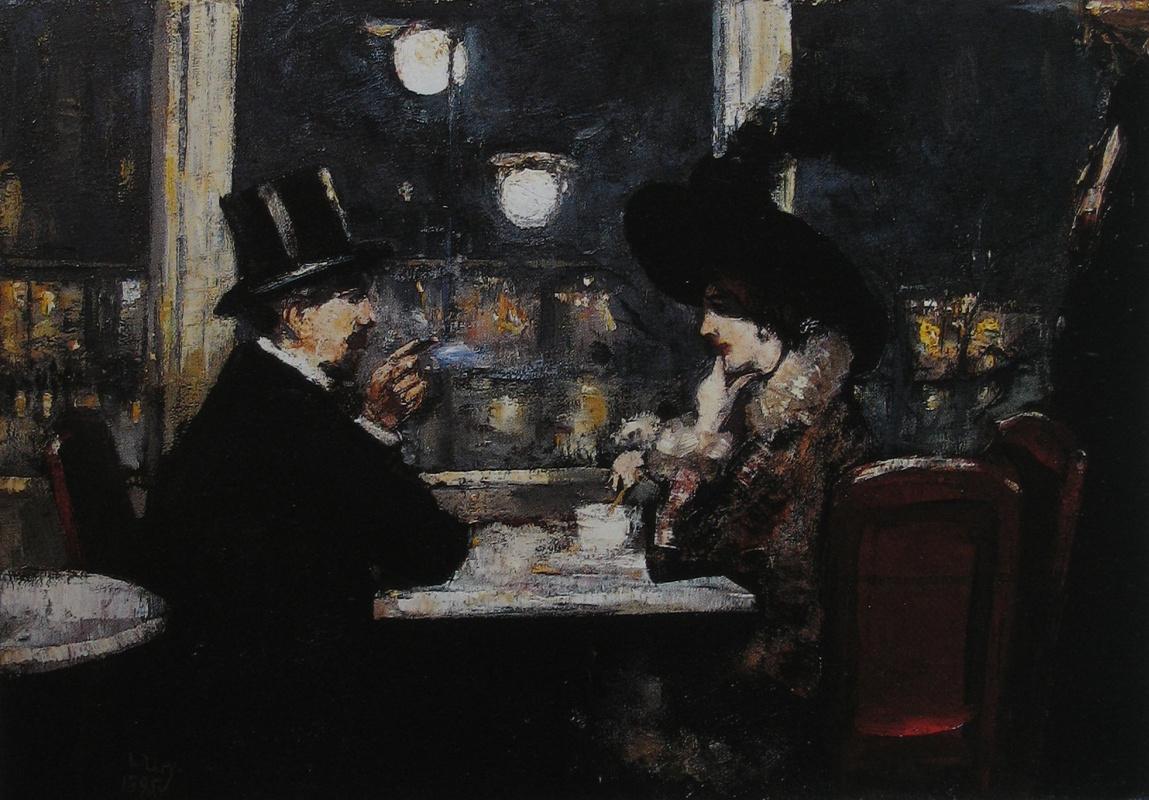 """Lesser Ury. The café """"Bauer"""""""