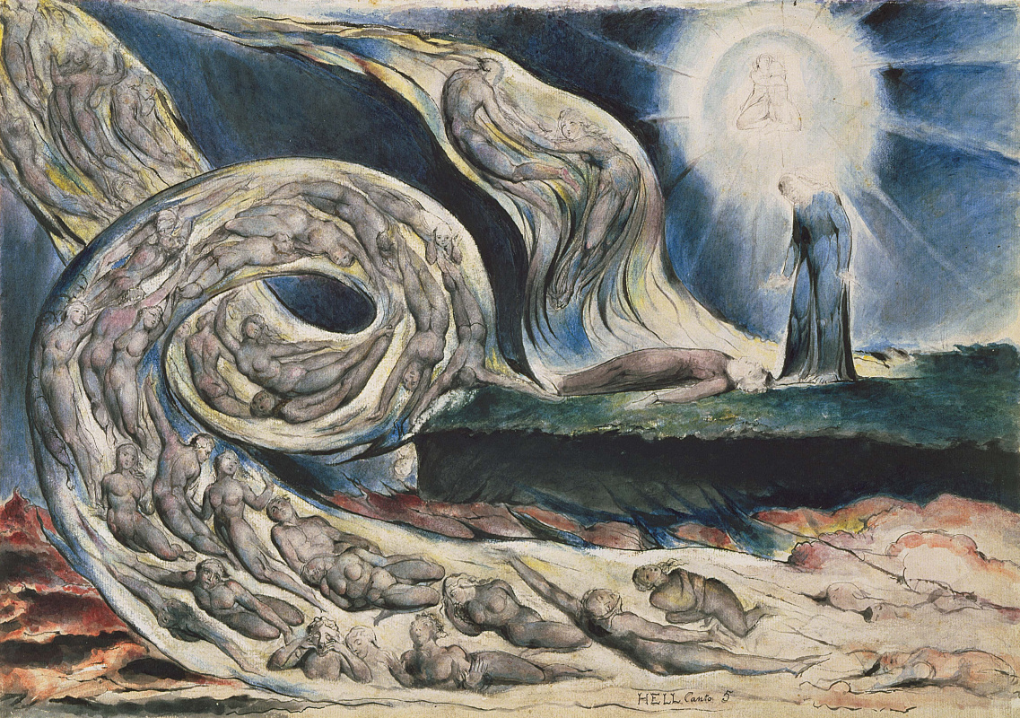 "William Blake. Circle of lust: Francesca da Rimini. Illustrations for ""the divine Comedy"""
