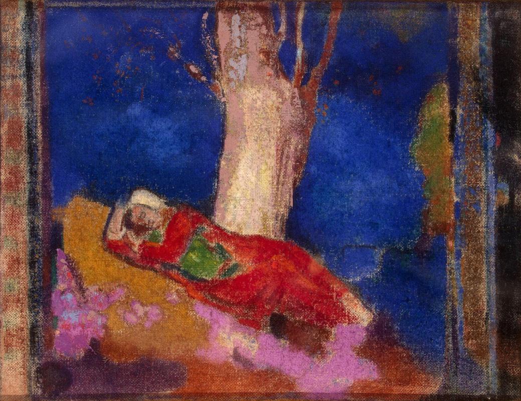 Odilon Redon. Woman sleeping under a tree
