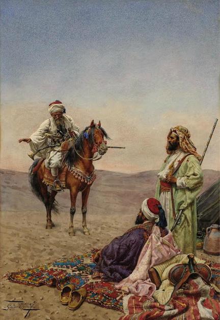 Джулио Розати. Арабские всадники в пустыне