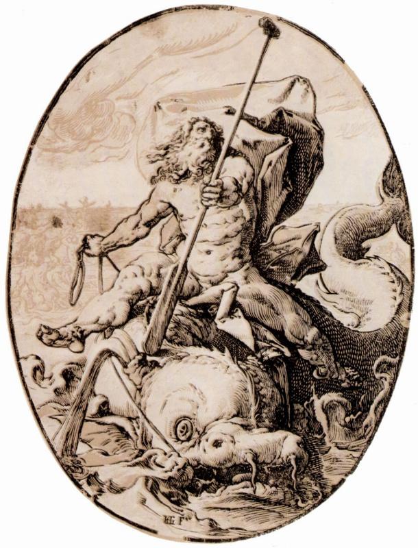 "Hendrik Goltzius. Series ""Ancient gods""[01], Neptun"